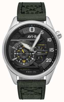 AVI-8 HAWKER HARRIER II - Ace Of Spades   Automatic   Green Leather Strap AV-4070-01