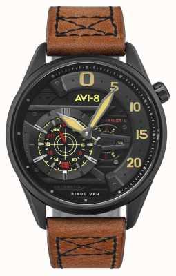 AVI-8 HAWKER HARRIER II - Ace Of Spades   Automatic   Brown Leather Strap AV-4070-04