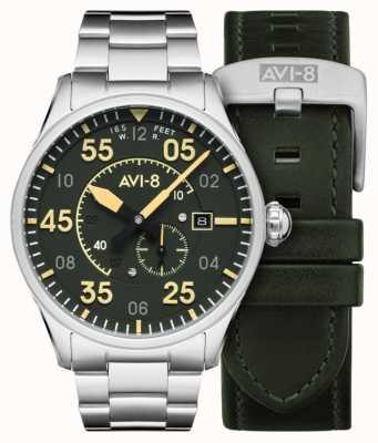 AVI-8 SPITFIRE   Automatic   Green Dial Stainless Steel Bracelet   Extra Leather Strap AV-4073-22