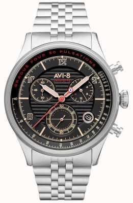 AVI-8 FLYBOY LAFAYETTE   Chronograph   Black Dial   Stainless Steel Bracelet AV-4076-33