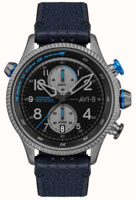 AVI-8 HAWKER HUNTER   Chronograph   Black Dial   Blue Leather Strap AV-4080-02