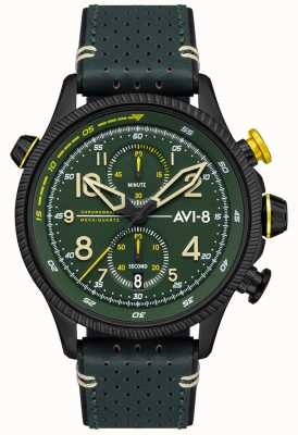 AVI-8 HAWKER HUNTER | Chronograph | Green Dial | Green Leather Strap AV-4080-03