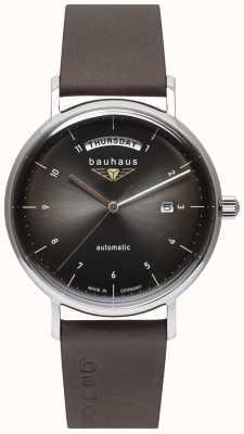 Bauhaus Men's Black Italian Leather Strap | Black Dial | Automatic | Day/Date 2162-2