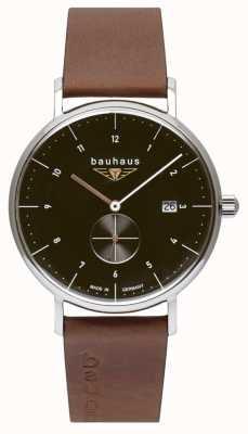 Bauhaus Men's Brown Italian Leather Strap | Black Dial 2132-2