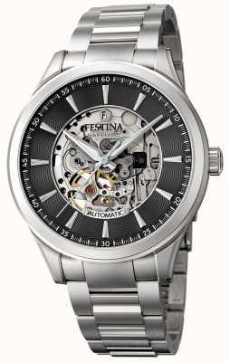 Festina Men's Automatic Skeleton | Steel Bracelet | Black Dial F20536/4