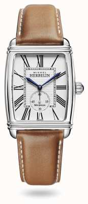 Michel Herbelin Art Déco   Automatic   Brown Leather Strap Silver Dial 1938/08GO