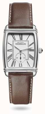 Michel Herbelin Womens | Art Déco | Silver Dial | Brown Leather Strap 10638/08MA