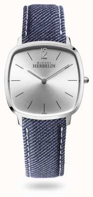 Michel Herbelin City   Silver Dial   Blue Denim Strap 16905/11JN