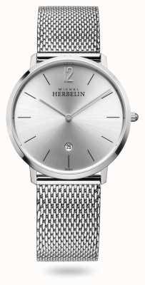 Michel Herbelin City   Stainless Steel Mesh Bracelet   Silver Dial 19515/11B