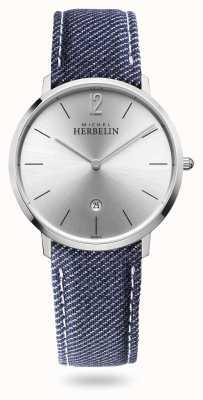 Michel Herbelin City   Denim Strap   Silver Dial 19515/11JN