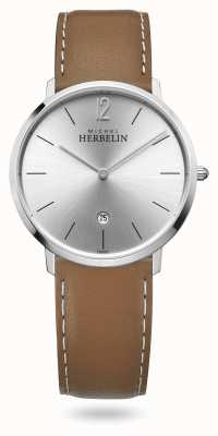 Michel Herbelin City   Brown Leather Strap   Silver Dial 19515/11GO
