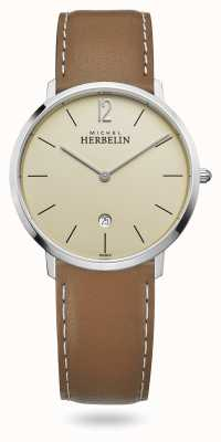 Michel Herbelin City   Brown Leather Strap   Champagne Dial 19515/17NGO