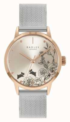 Radley Women's Stainless Steel Silver Mesh Bracelet | Silver Floral Dial RY4581A