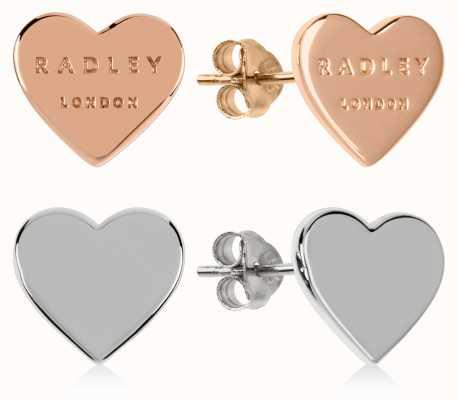 Radley Jewellery Love Letters | Rose Gold And Silver Heart Stud Earrings | Set RYJ1155S-CARD