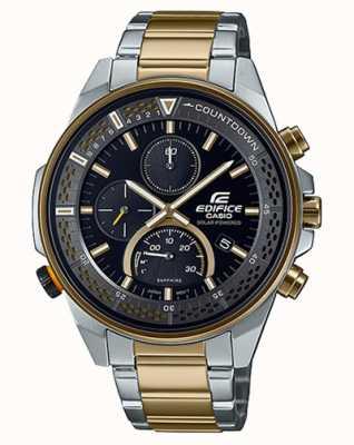 Casio Edifice Slim Sapphire Chronograph | Two-Tone Steel Bracelet | Black Dial EFS-S590SG-1AVUEF