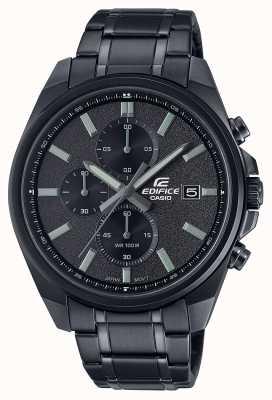Casio Edifice All Black IP   Black Stainless Steel Bracelet   Black Dial EFV-610DC-1AVUEF