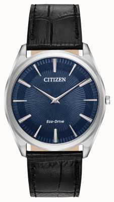 Citizen Stiletto | Men's Eco Drive | Black Leather Strap | Blue Dial AR3070-04L