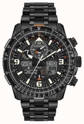 Citizen Skyhawk A-T | Men's Black IP Steel Bracelet | Black Dial JY8075-51E