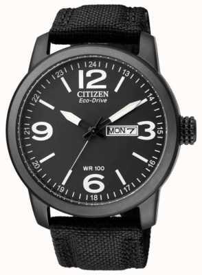 Citizen Men's Eco-Drive   Military Sport   Black Nylon Strap   Black Dial BM8475-34E