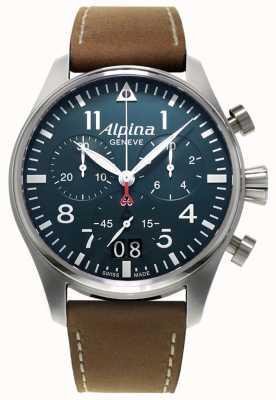 Alpina Men's Smartimer Pilot Chrono | Brown Leather strap | Blue Dial AL-372N4S6
