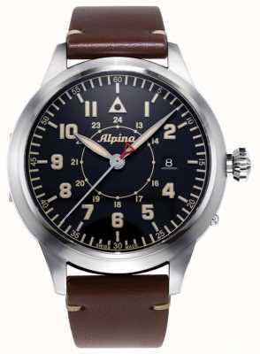 Alpina Smartimer Pilot Heritage LTD | Brown Leather Strap | Blue Dial AL-525BBG4SH6
