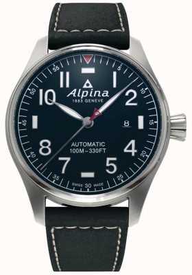 Alpina Men's Smartimer Pilot Auto | Black Leather Strap | Dark Blue Dial AL-525NN4S6