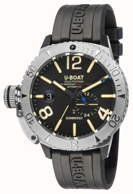 U-Boat SOMMERSO/A BLACK RUBBER STRAP WATCH 9007/A