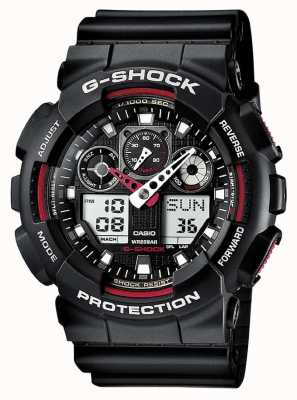 Casio G-Shock Chronograph Alarm Black Red GA-100-1A4ER