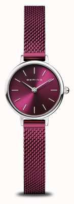 Bering Classic | Women's | Polished Silver | Purple Mesh 11022-909