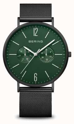 Bering Classic | Men's | Mat Black | Black Mesh Strap 14240-128