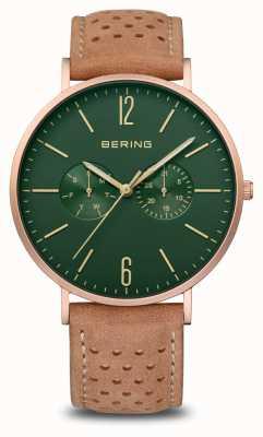 Bering Classic | Men's | Mat Rose Gold | Brown Leather Strap 14240-668