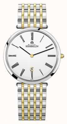 Michel Herbelin Epsilon | White Dial | Two Tone Steel Bracelet 19416/BT01N
