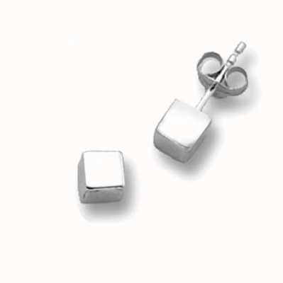 James Moore TH 9ct White Gold Cube Stud Earrings ES262SW
