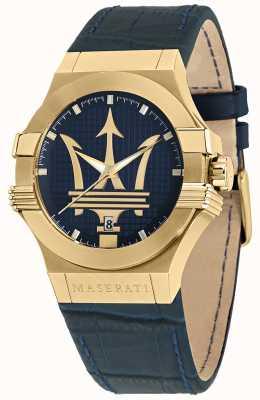 Maserati Potenza Gents Blue Leather Strap Watch R8851108035
