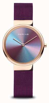 Bering Women's | Polished Rose Gold | Purple Mesh Bracelet 10X31-ANNIVERSARY3