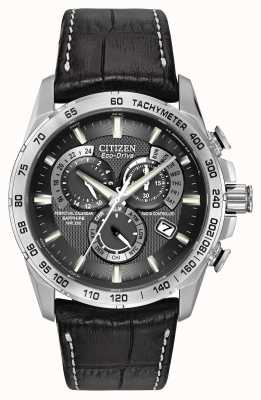 Citizen Mens Radio Controlled Perpetual A-T Chronograph Black Leather AT4000-02E