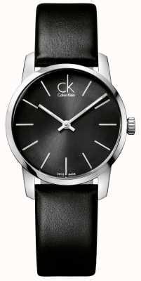 Calvin Klein City Womens Black Dial Black Leather Strap K2G23107