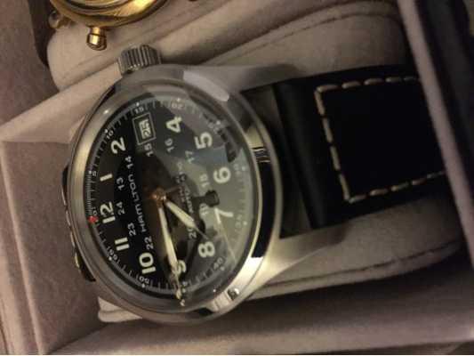 a5b93d736 Customer picture of Hamilton Mens Khaki Field Auto Black Strap Black Dial  H70455733