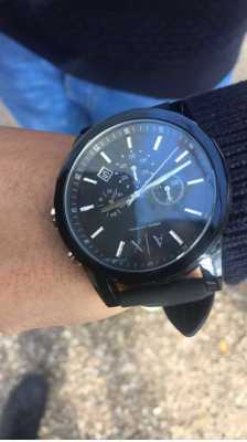 596cea9c8481 Customer picture of Armani Exchange Mens Black Silicone Strap Black  Chronograph Dial AX1326